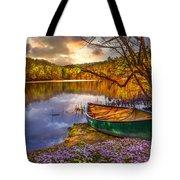 Canoe At The Lake Tote Bag by Debra and Dave Vanderlaan