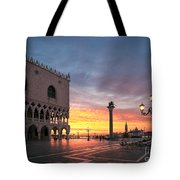 Doges Palace At Sunrise Venice Italy Tote Bag by Matteo Colombo