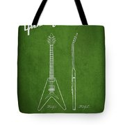 Mccarty Gibson Electric Guitar Patent Drawing From 1958 - Green Tote Bag by Aged Pixel