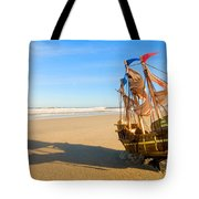 Ship Model On Summer Sunny Beach Tote Bag by Michal Bednarek