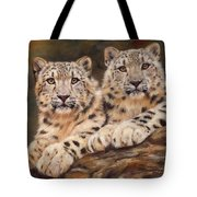 Snow Leopards Tote Bag by David Stribbling