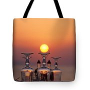 Sunset behind a restaurant Tote Bag by George Atsametakis