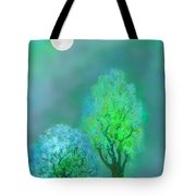 unbordered DREAM TREES AT TWILIGHT Tote Bag by Mathilde Vhargon