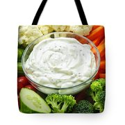 Vegetables and dip Tote Bag by Elena Elisseeva