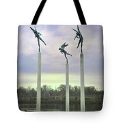 3 Angels Statue Philadelphia Tote Bag by Bill Cannon