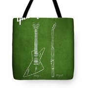 Mccarty Gibson Electrical Guitar Patent Drawing From 1958 - Green Tote Bag by Aged Pixel