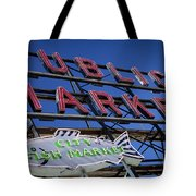 Seattle Market Sign Tote Bag by Brian Jannsen