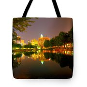 Skyline of uptown Charlotte North Carolina at night Tote Bag by Alexandr Grichenko