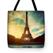 Eiffel Tower In Paris Fance In Retro Style Tote Bag by Michal Bednarek