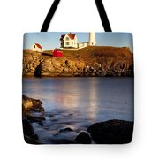 Nubble Lighthouse Tote Bag by Brian Jannsen