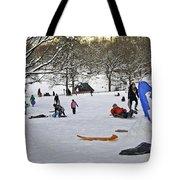 Snowboarding  in Central Park  2011 Tote Bag by Madeline Ellis