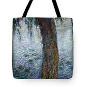 Waterlilies Morning with Weeping Willows Tote Bag by Claude Monet