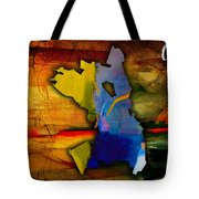 Oakland Map And Skyline Watercolor Tote Bag by Marvin Blaine