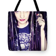 80's Retro Funky Girl Portrait Tote Bag by Eldad Carin