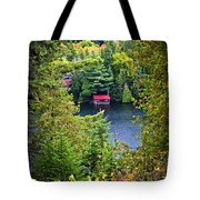 Fall forest and lake Tote Bag by Elena Elisseeva