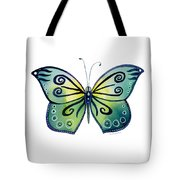 92 Teal Button Cap Butterfly Tote Bag by Amy Kirkpatrick