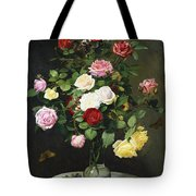 A Bouquet Of Roses In A Glass Vase By Wild Flowers On A Marble Table Tote Bag by Otto Didrik Ottesen