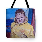 A Boy On A Boat Tote Bag by Jack Skinner