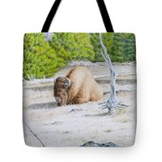 A Buffalo Sits In Yellowstone Tote Bag by Michele Myers