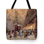 A Busy Boulevard near the Place de la Republique Paris Tote Bag by Eugene Galien-Laloue