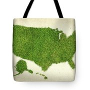 United State Grass Map Tote Bag by Aged Pixel
