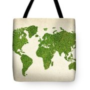 World Grass Map Tote Bag by Aged Pixel