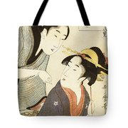 A Double Half Length Portrait Of A Beauty And Her Admirer Tote Bag by Kitagawa Utamaro