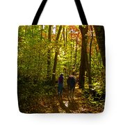 A Fall Walk With My Best Friend Tote Bag by Sandi OReilly