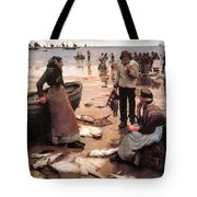 A Fish Sale On A Cornish Beach Tote Bag by Stanhope Alexander Forbes