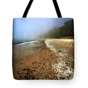 A Foggy Day At Pier Cove Beach 2.0 Tote Bag by Michelle Calkins