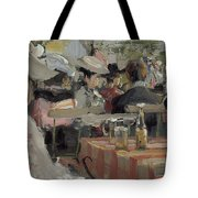 A Garden Restaurant Tote Bag by August Heitmuller