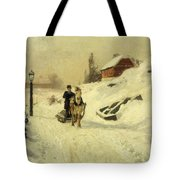 A Horse Drawn Sleigh In A Winter Landscape Tote Bag by Fritz Thaulow
