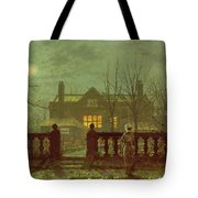 A Lady In A Garden By Moonlight Tote Bag by John Atkinson Grimshaw