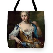 A Lady In A Landscape With A Fly On Her Shoulder Tote Bag by Frans van der Mijn