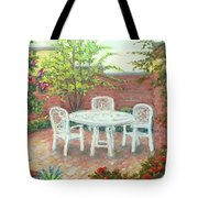 A Little Spring Patio  Tote Bag by Nancy Heindl