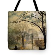 A Moonlit Stroll Bonchurch Isle of Wight Tote Bag by John Atkinson Grimshaw