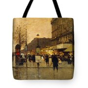 A Parisian Street Scene Tote Bag by Eugene Galien-Laloue