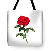 A Red Rose on White Tote Bag by John Bailey
