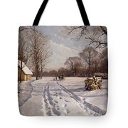 A Sleigh Ride Through A Winter Landscape Tote Bag by Peder Monsted