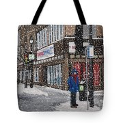 A Snowy Day On Wellington Tote Bag by Reb Frost