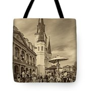 A Sunny Afternoon In Jackson Square Sepia Tote Bag by Steve Harrington