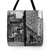 A Tail Of Two Cities - South Broad Then And Now Tote Bag by Bill Cannon