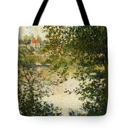 A View Through The Trees Of La Grande Jatte Island Tote Bag by Claude Monet