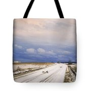 A Winter Landscape With A Horse And Cart Tote Bag by Anders Andersen-Lundby