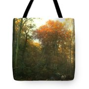 A Woodcutter At Work Tote Bag by Geraldine Jacoba Van De Sande Bakhuyzen