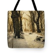 A Wooded Winter Landscape With Deer Tote Bag by Peder Monsted