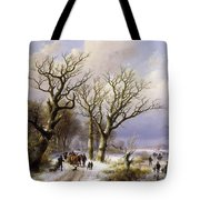 A Wooded Winter Landscape With Figures Tote Bag by Verboeckhoven and Klombeck