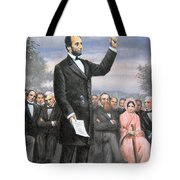 Abraham Lincoln Delivering The Gettysburg Address Tote Bag by American School