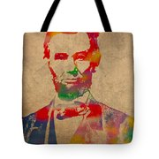 Abraham Lincoln Watercolor Portrait On Worn Distressed Canvas Tote Bag by Design Turnpike