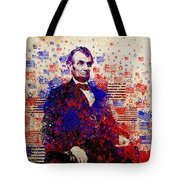 Abraham Lincoln With Flags Tote Bag by Bekim Art